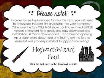 Harry Potter Themed Editable Cards