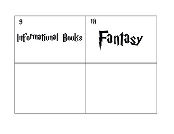 Harry Potter Themed Genre Library Labels