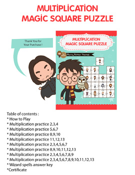 Harry Potter Themed - Multiplication Magic Square Puzzle