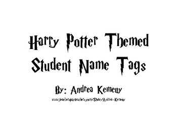 Harry Potter Themed Student Tags