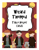 Wizard Themed Table Helper Cards