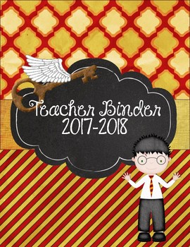 Harry Potter Themed Teacher Binder Red and Yellow Gryffindor