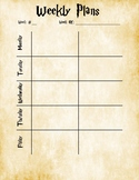 Harry Potter Themed Weekly Lesson Planning Pages