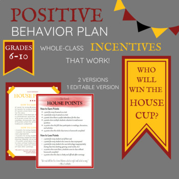 Harry Potter Themed Whole Class Behavior Incentives (EDITABLE)