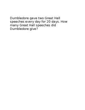 Harry Potter Themed Word Problems (multiplication)