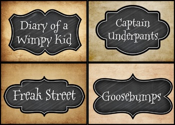 Harry Potter 'Vintage' style Book Bin Labels.