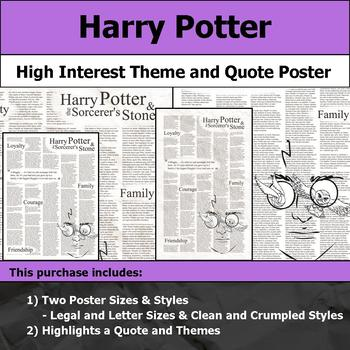 Harry Potter - Visual Theme and Quote Poster for Bulletin Boards