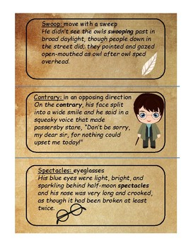 Harry Potter and the Sorcerer's Stone Vocabulary Cards Chapter 1-6
