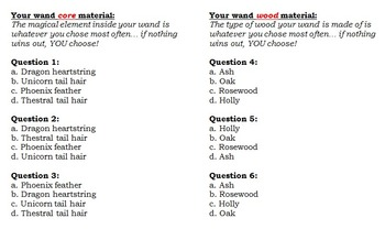 Harry Potter Wand Quiz for Students with Answer Key and Explanations