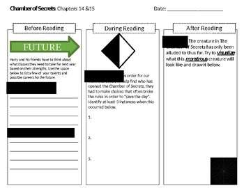 Harry Potter and The Chamber of Secrets Interactive Differentiated Reading Log