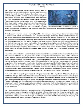 Harry Potter and The Order of the Phoenix - Reading Comprehension Text