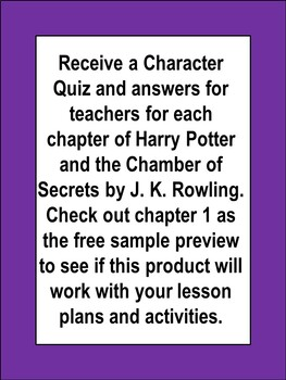Harry Potter and the Chamber of Secrets Activities Character Clues