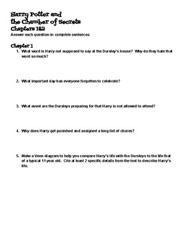 Harry Potter and the Chamber of Secrets Comprehension Worksheet Packet