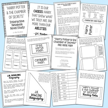 Harry Potter and the Chamber of Secrets Interactive Notebook Novel Unit Study