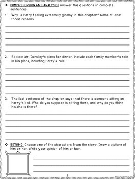 Harry Potter and the Chamber of Secrets: Comprehension and Vocabulary by chapter