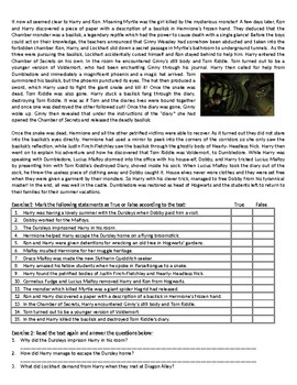 Harry Potter and the Chamber of Secrets - Reading Comprehension Text