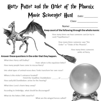 Harry Potter and the Order of the Phoenix Movie Scavenger Hunt
