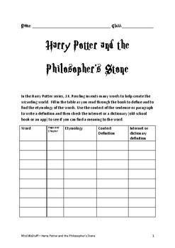 Harry Potter and the Philosopher's Stone Comprehension Booklet