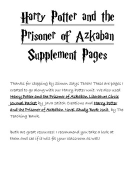Harry Potter and the Prisoner of Azkaban Supplement Pages