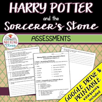 Harry Potter and the Sorcerer's Stone: Tests, Quizzes, Assessments