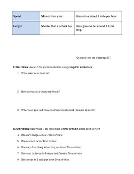 Harry Potter and the Sorcerer's Stone Chapter 2 Boa Constrictor Worksheet