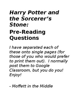 Harry Potter and the Sorcerer's Stone: FOUR Pre-Reading Writing Activities!