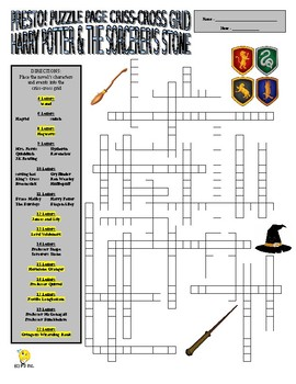 Harry Potter and the Sorcerer's Stone Puzzle Page (Wordsearch and Criss-Cross)