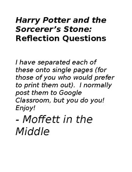 Harry Potter and the Sorcerer's Stone: Reflection Questions (one per chapter!)