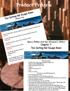 Harry Potter and the Sorcerer's Stone Sorting Hat Escape Room Activity