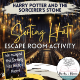 """""""Harry Potter and the Sorcerer's Stone"""" Sorting Hat Escape Room Review Activity"""