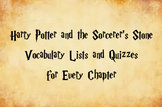 Harry Potter and the Sorcerer's Stone Vocabulary Words and