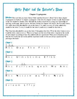 Harry Potter and the Sorcerer's Stone Chapter Title Cryptograms—Fun!