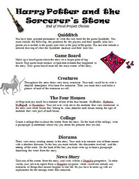 Harry Potter and the Sorcerer's Stone Literature Circles Activity