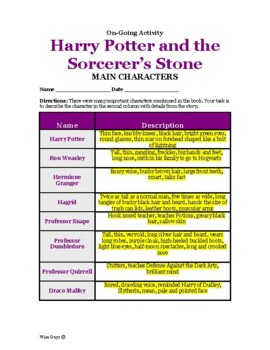 Harry Potter and the Sorcerer's Stone Main Characters Activity and Key