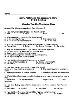 Harry Potter and the Sorcerer's Stone chapter 1 and 2 questions Fantasy