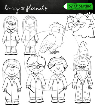 Harry Potter clipart +BW