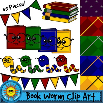 Book Worms Clip Art Set