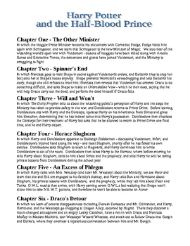 Harry Potter & the Half-Blood Prince Ch. Summaries, Test, & Answer Key