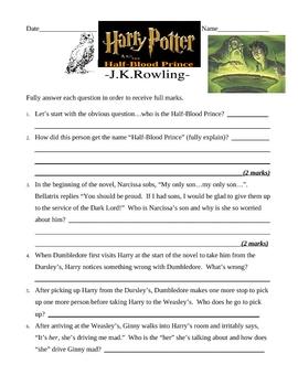 Harry Potter & the Half-Blood Prince TEST & ANSWER KEY