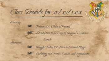 Harry Potter themed Class Schedule slides Free Preview