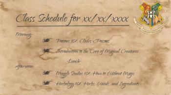 Harry Potter themed Class Schedule slides Mega Pack