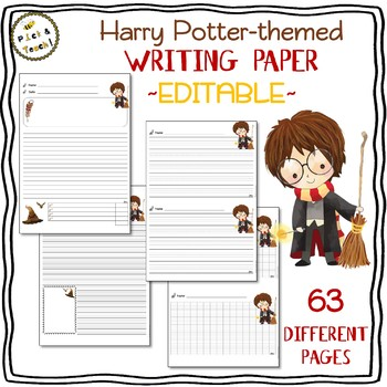 Harry Potter-themed lined WRITING PAPER with EDITABLE rubrics and text boxes