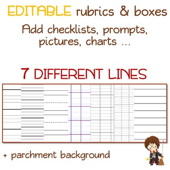 Harry lined WRITING PAPER with EDITABLE rubrics and text boxes