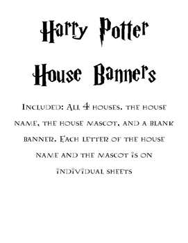 Harry Potter themed classroom house banners