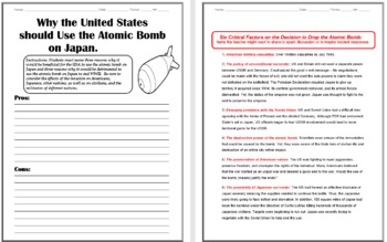 Harry S Truman Biography and Atomic Bomb Classroom Activity