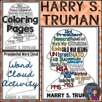 Harry S. Truman Coloring Page and Word Cloud Activity