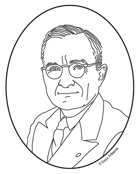 Harry S. Truman (33rd President) Clip Art, Coloring Page or Mini Poster