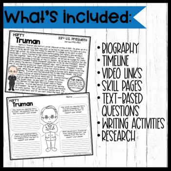 Harry Truman: Biography, Timeline, Graphic Organizers, Text-based Question