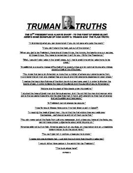 Harry Truman Speaks Plainly To Your Students