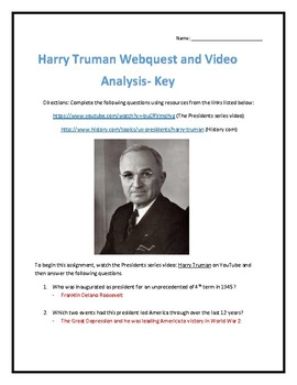Harry Truman- Webquest and Video Analysis with Key